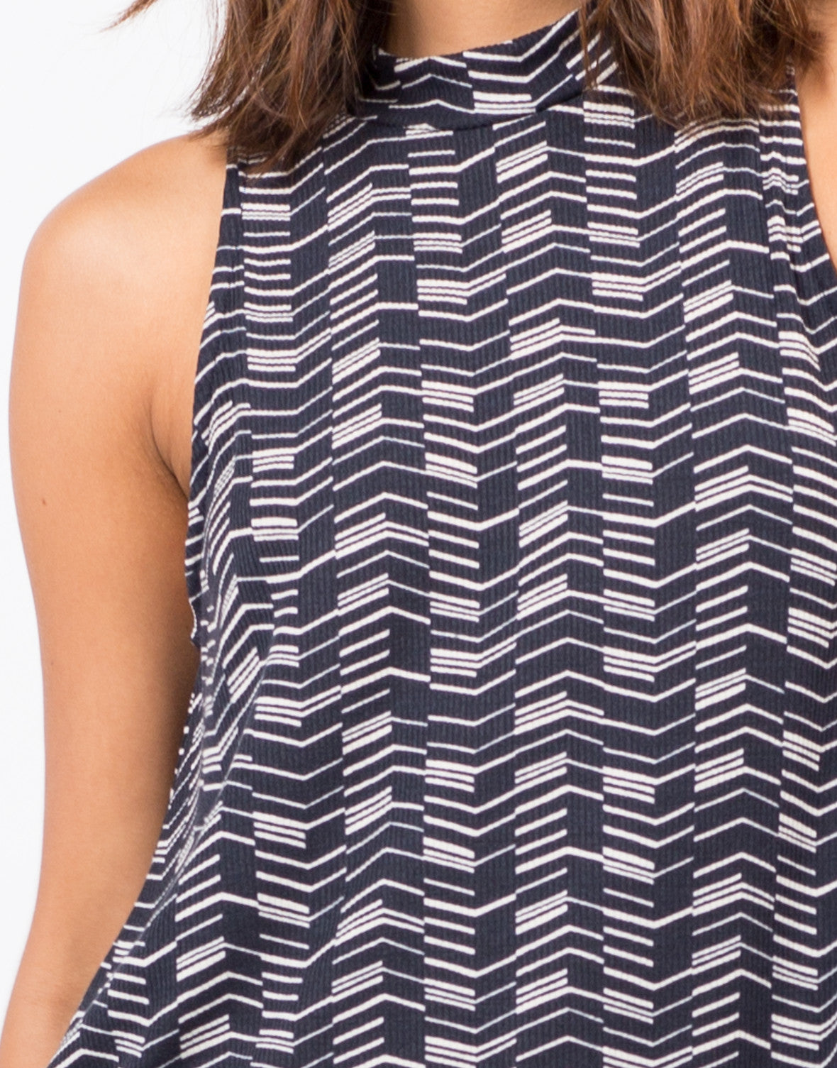 Detail of Printed Ribbed Top