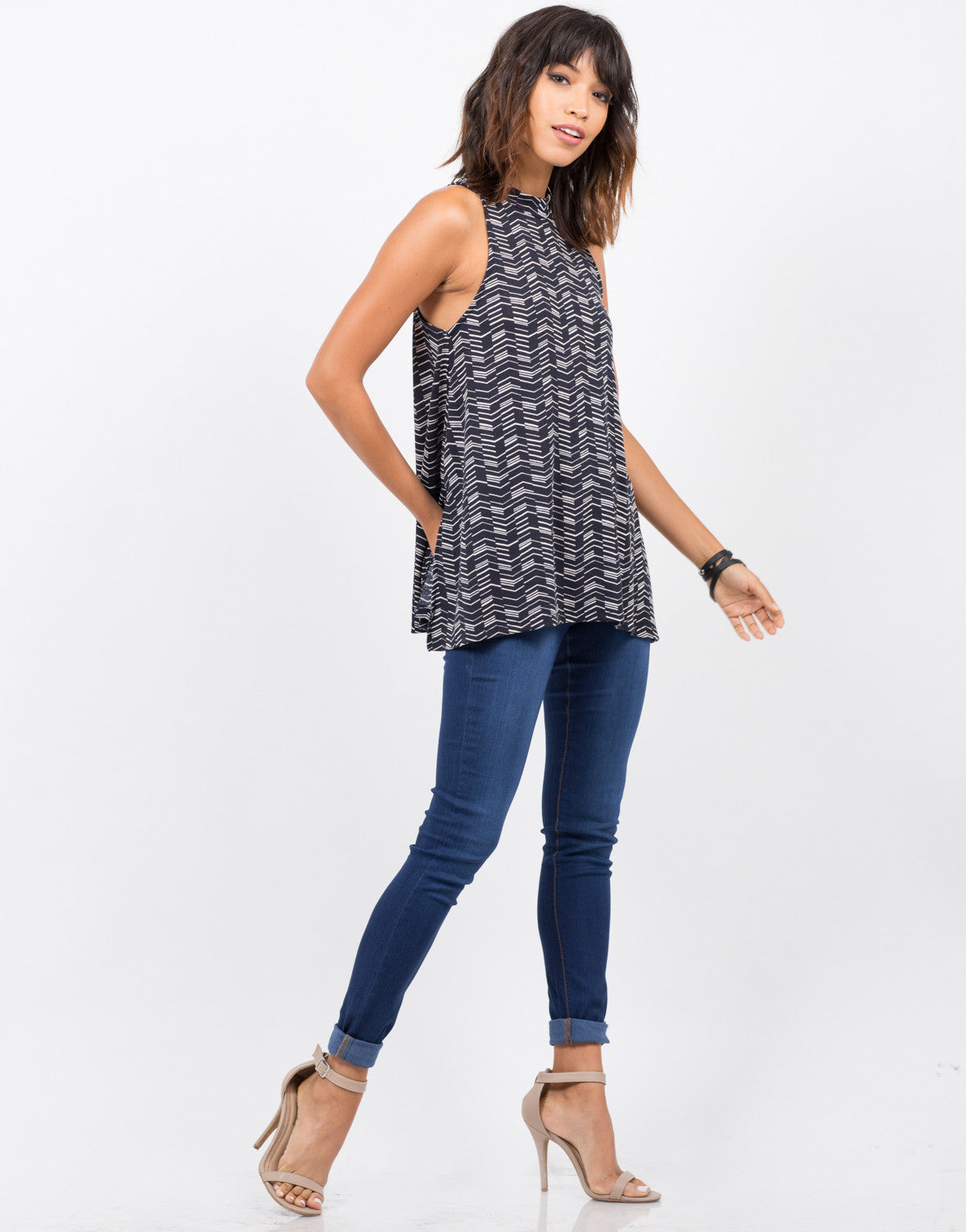 Side View of Printed Ribbed Top