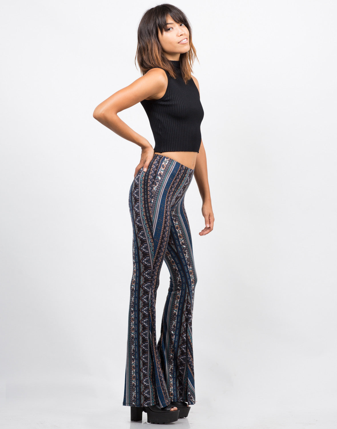 Side View of Printed Super Flare Pants