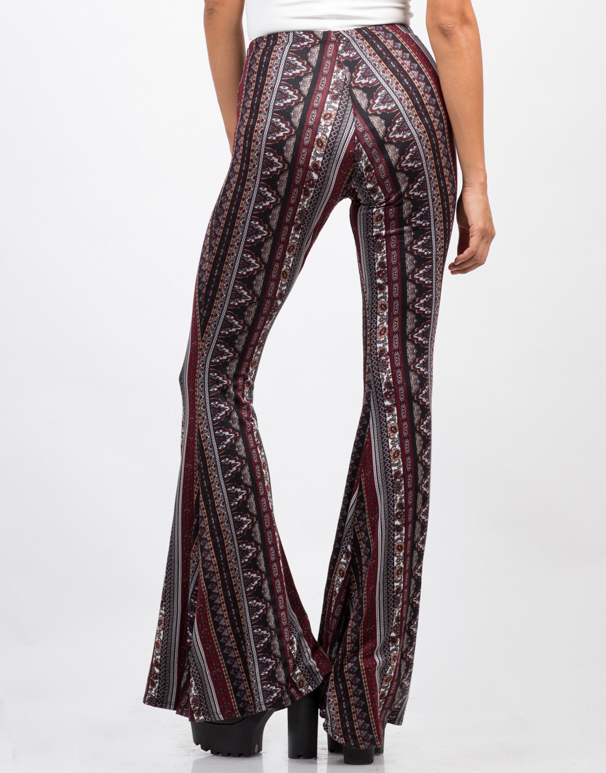 Back View of Printed Super Flare Pants