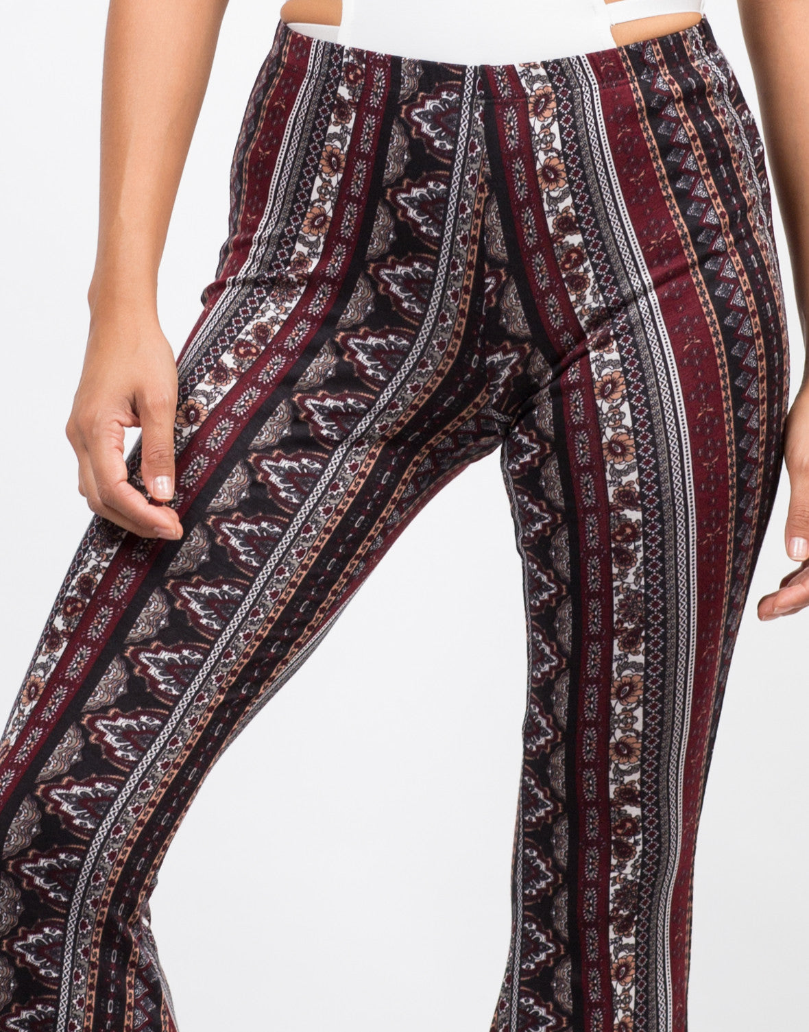 Detail of Printed Super Flare Pants