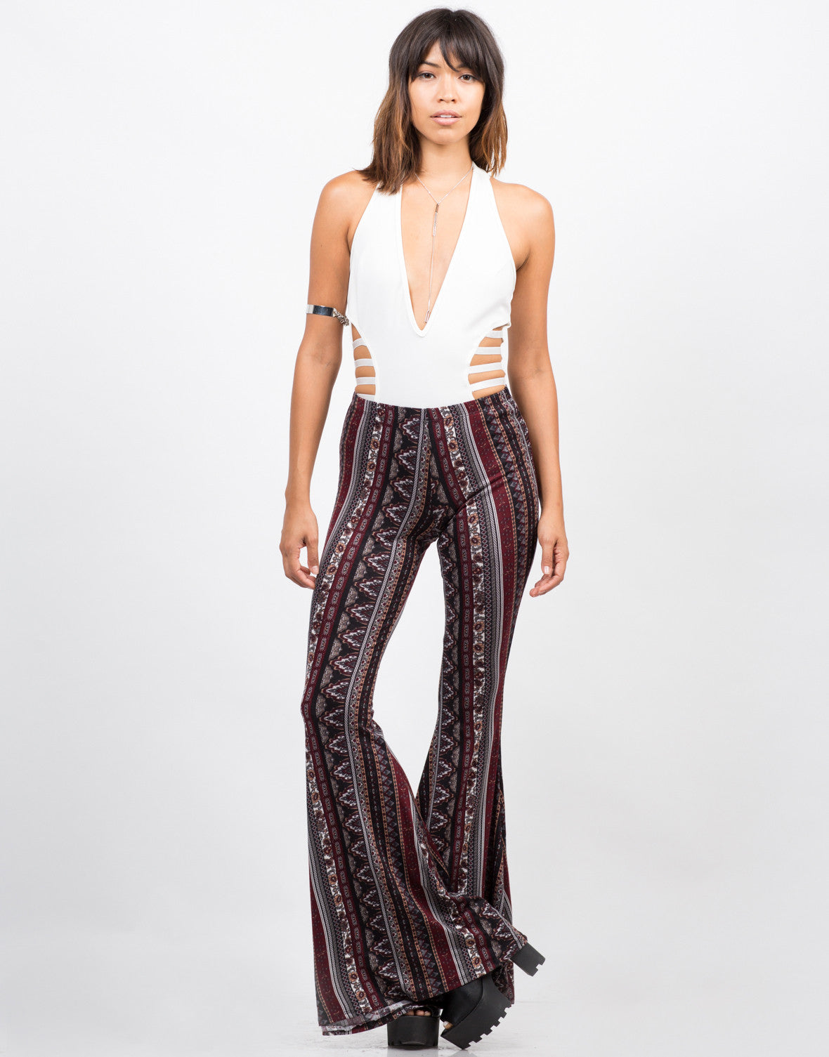 Front View of Printed Super Flare Pants
