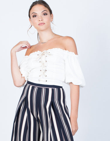 Puffy Sleeves Crop Top - 2020AVE