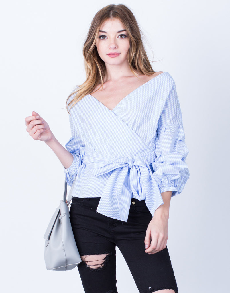 Puffy Sleeves Striped Blouse - 2020AVE