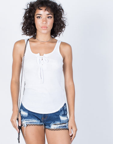 White Pure Lace-Up Tank - Front View