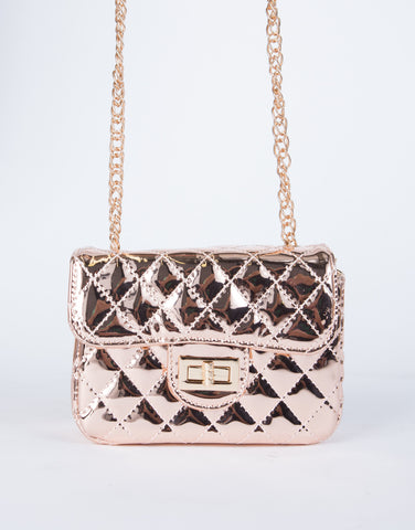 Quilted Metallic Crossbody Bag