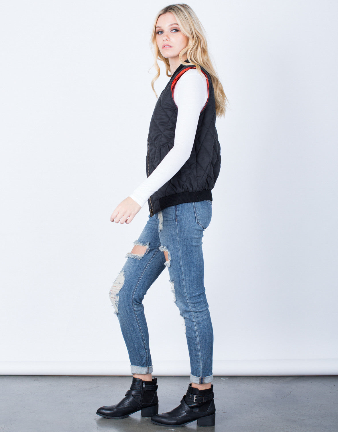Side View of Quilted Zip Up Vest