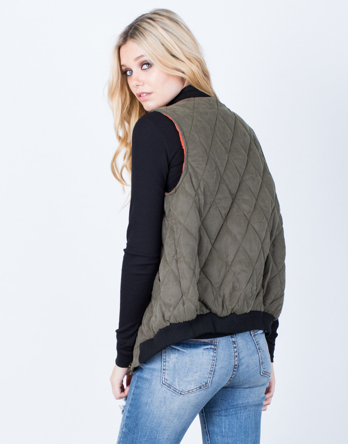 Back View of Quilted Zip Up Vest