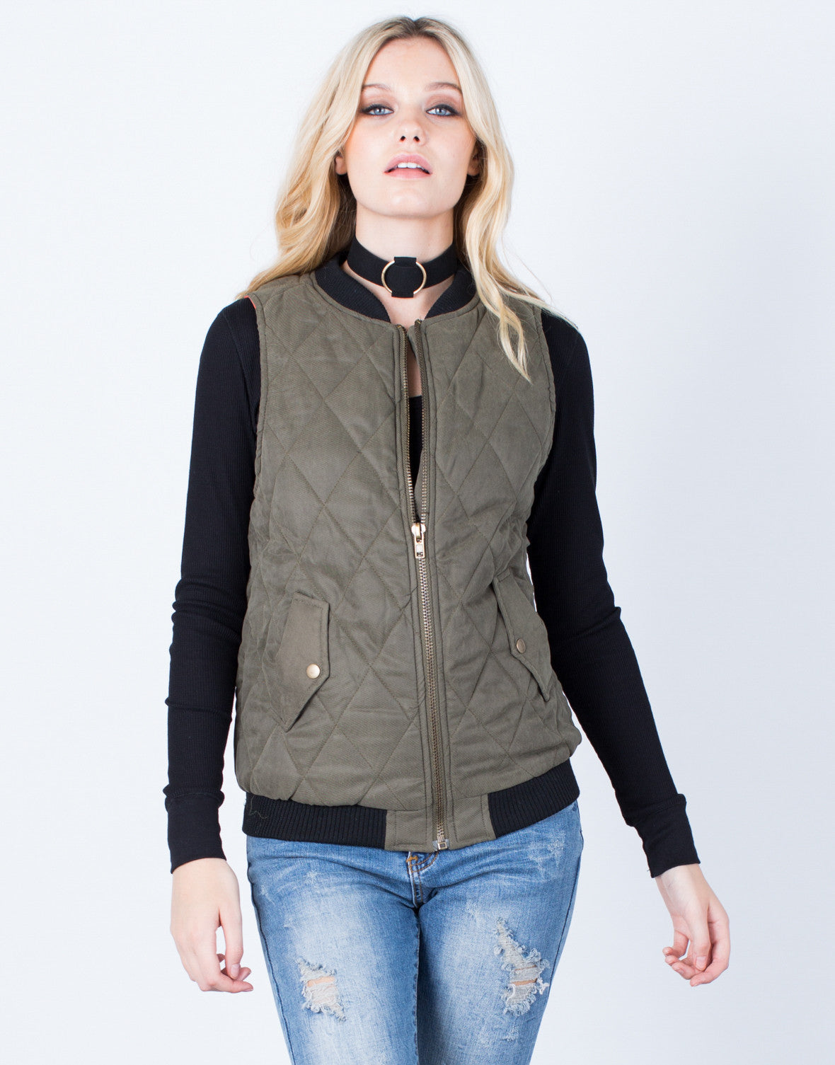 Front View of Quilted Zip Up Vest