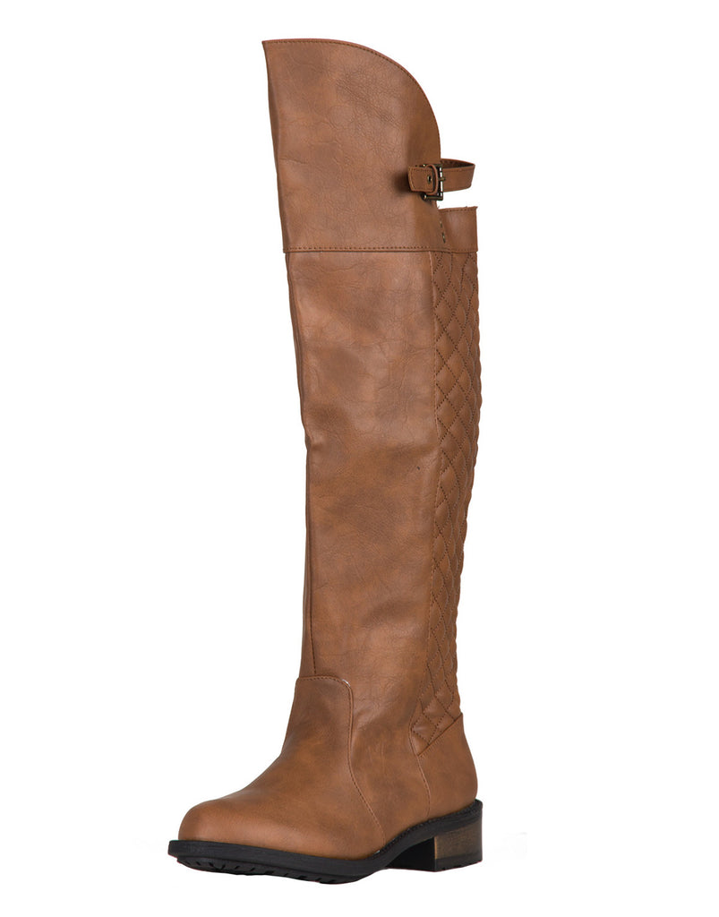Quilted Back Riding Boots - Light Brown - 2020AVE