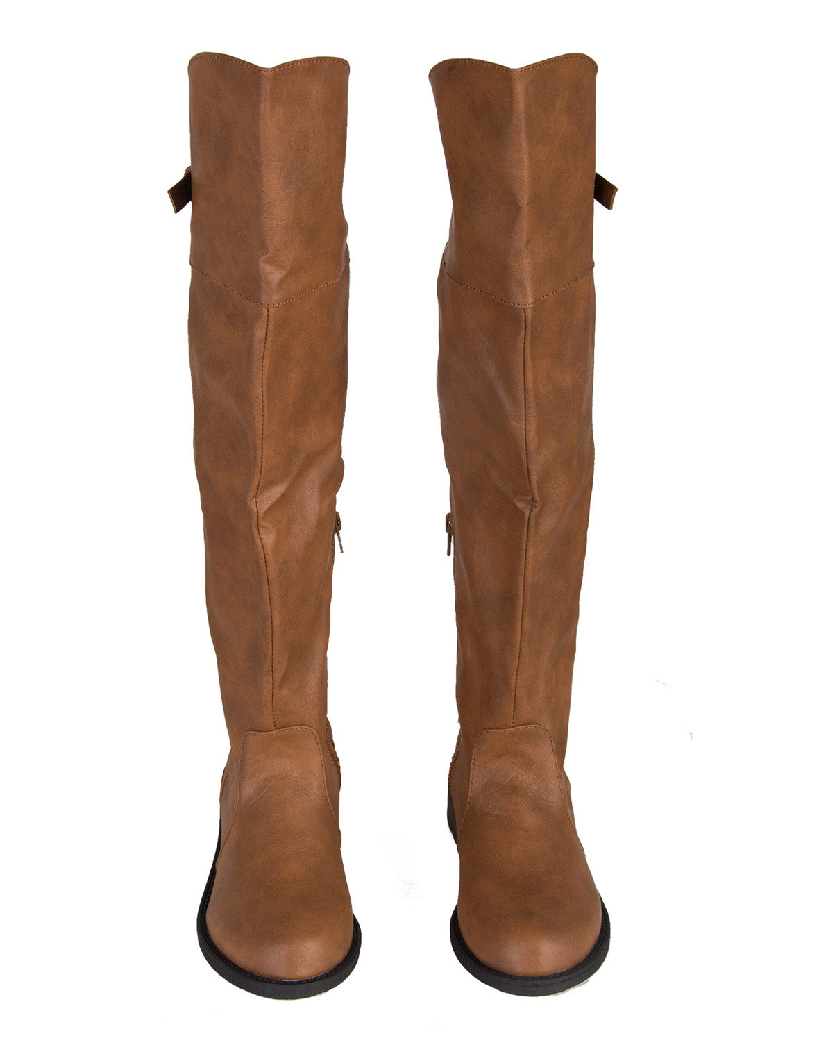 Quilted Back Riding Boots - Light Brown