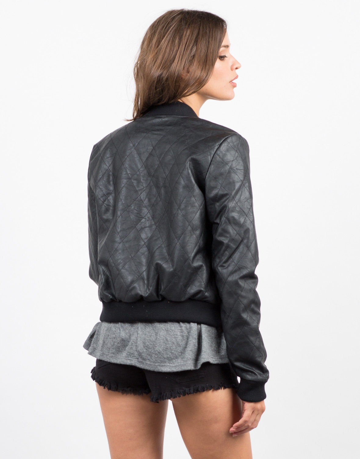 Back View of Quilted Leather Bomber Jacket