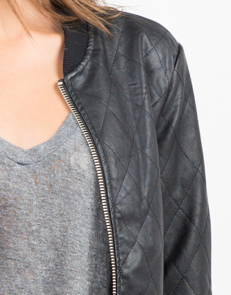 Quilted Leather Bomber Jacket - 2020AVE