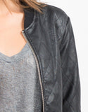 Detail of Quilted Leather Bomber Jacket