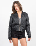 Front View of Quilted Leather Bomber Jacket