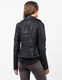 Back View of Quilted Moto Leather Jacket