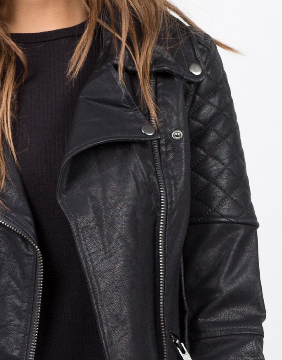 Detail of Quilted Moto Leather Jacket