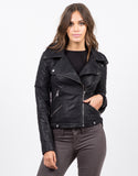 Front View of Quilted Moto Leather Jacket