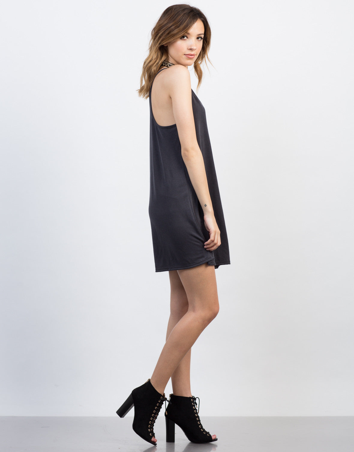 Side View of Racerback Cami Dress