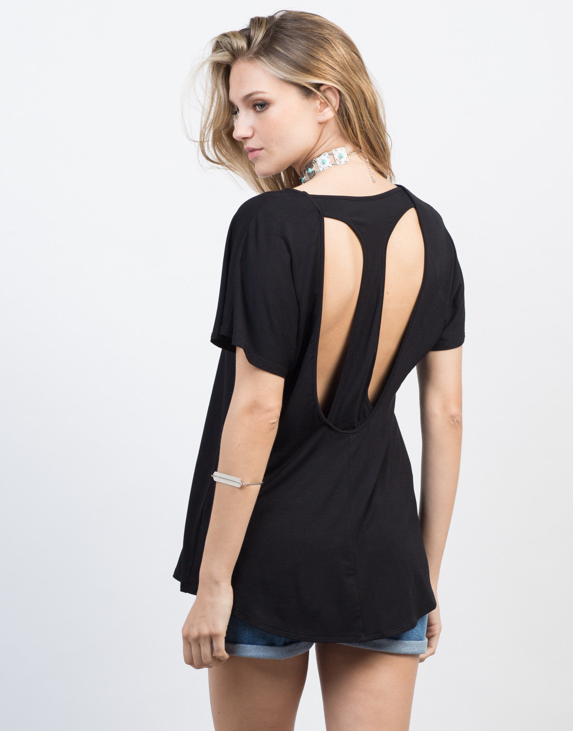 Back View of Racerback Cut Out Tee
