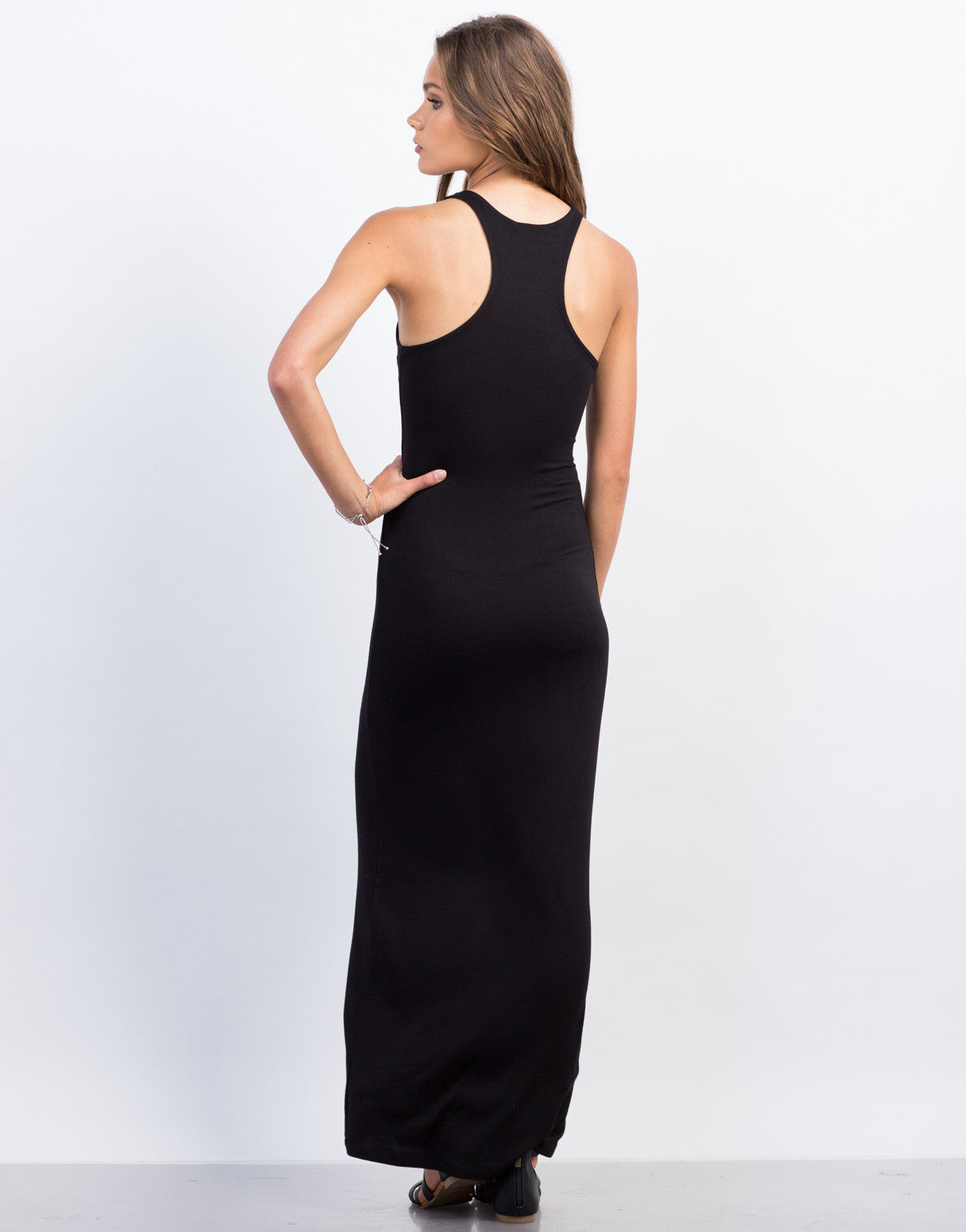 Back View of Racerback Maxi Dress