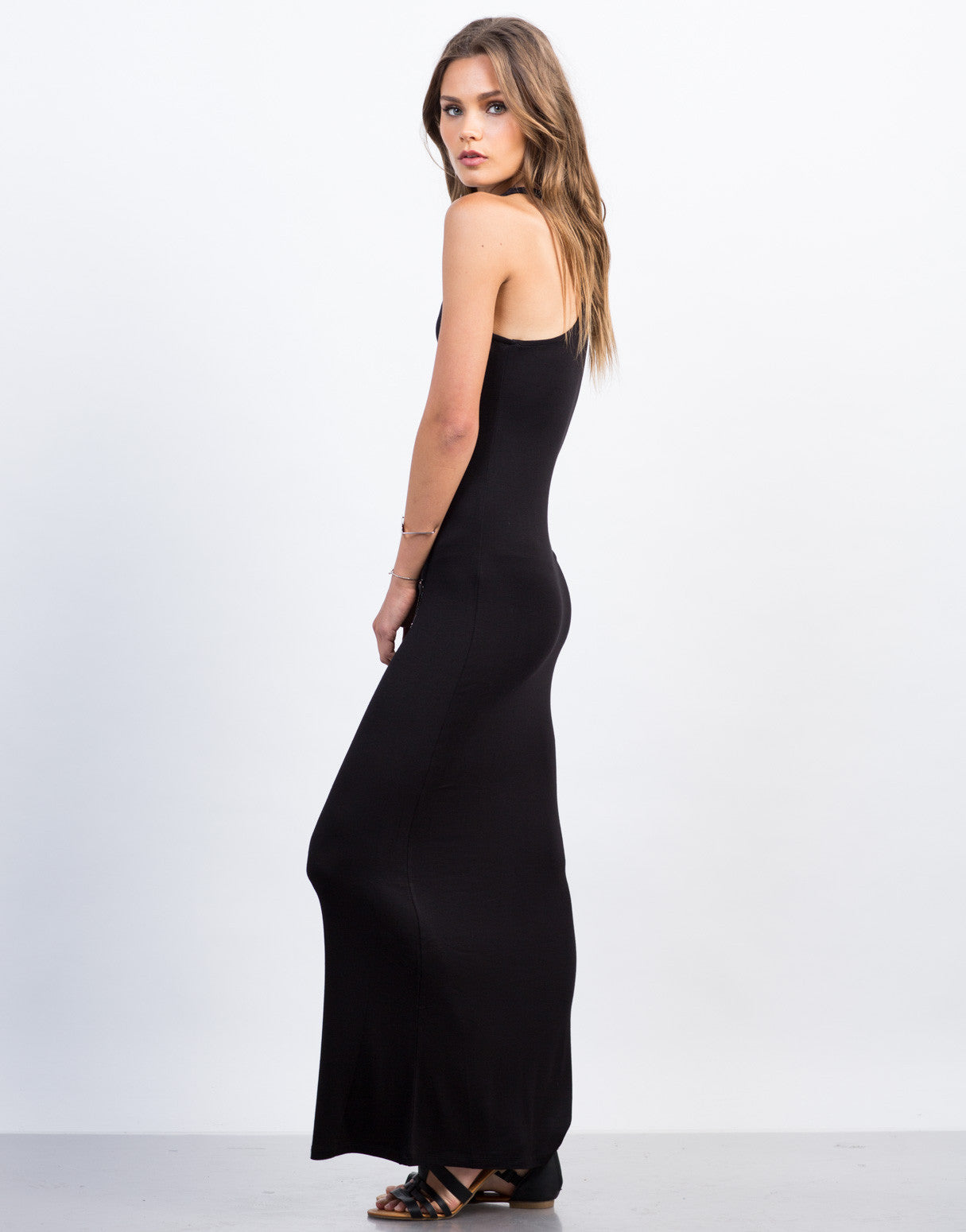 Side View of Racerback Maxi Dress