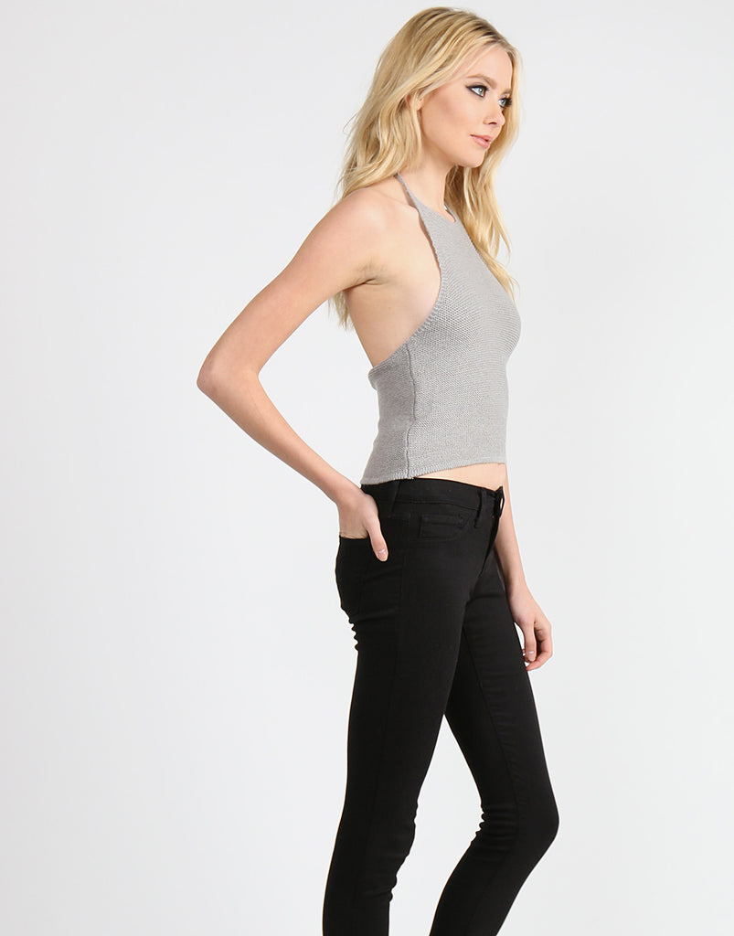 Racer Front Knitted Halter - Gray - 2020AVE