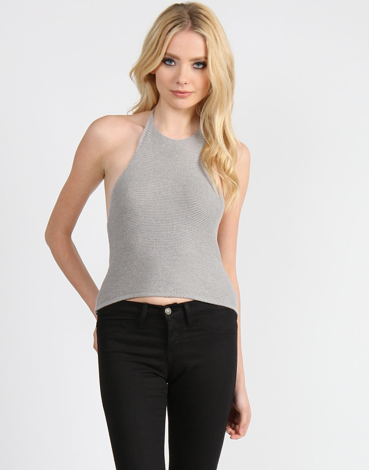 Racer Front Knitted Halter - Gray