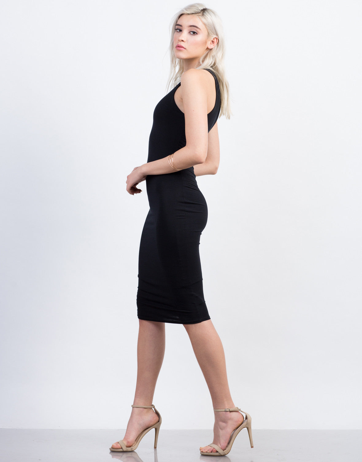 Side View of Racer Midi Dress