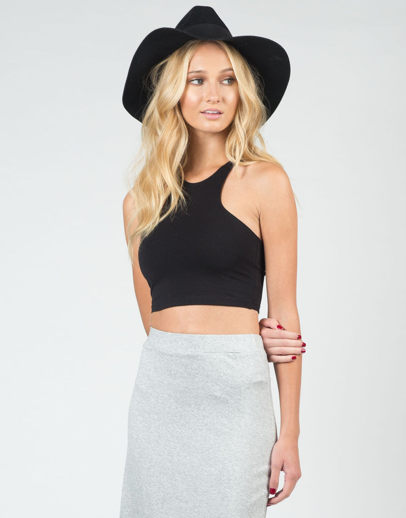Racer T-Back Cropped Tank - Black - Large - 2020AVE