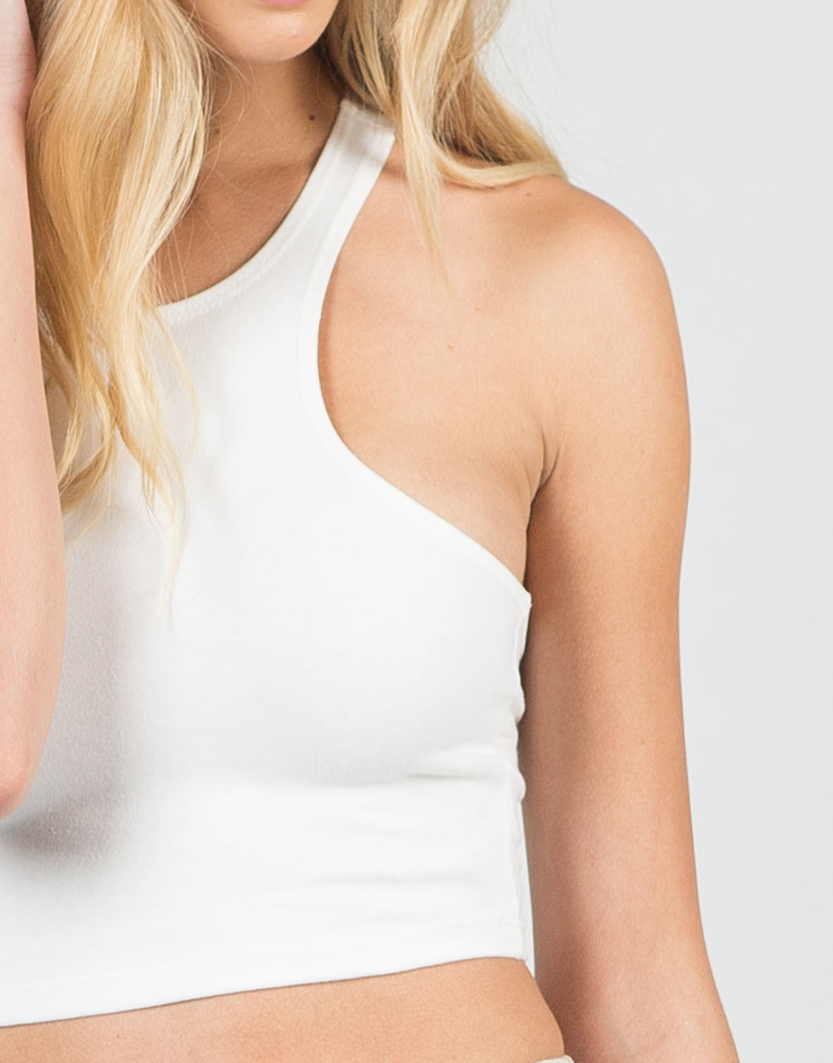 Detail of Racer T-Back Cropped Tank