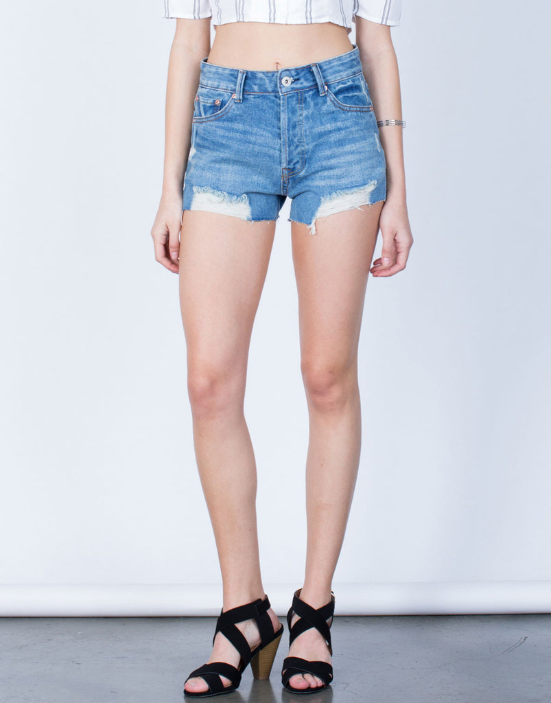 Front View of Raw Hem Denim Shorts