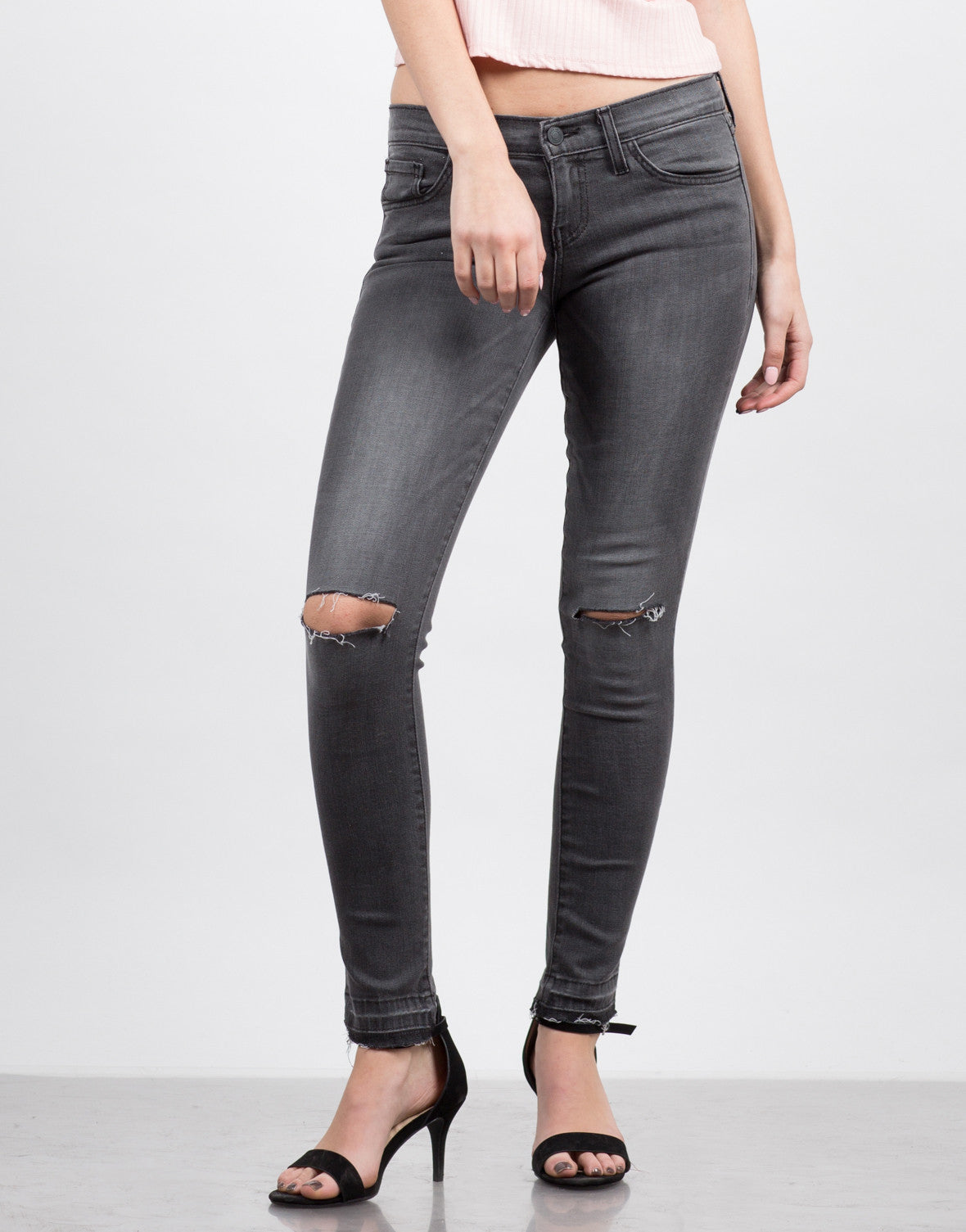 Front View of Raw Hem Skinny Jeans