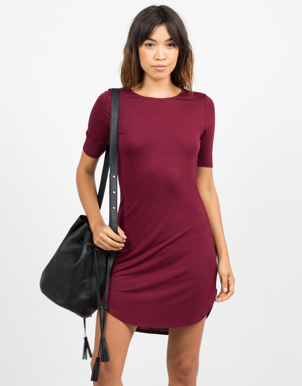Front View of Rayon T-Shirt Dress