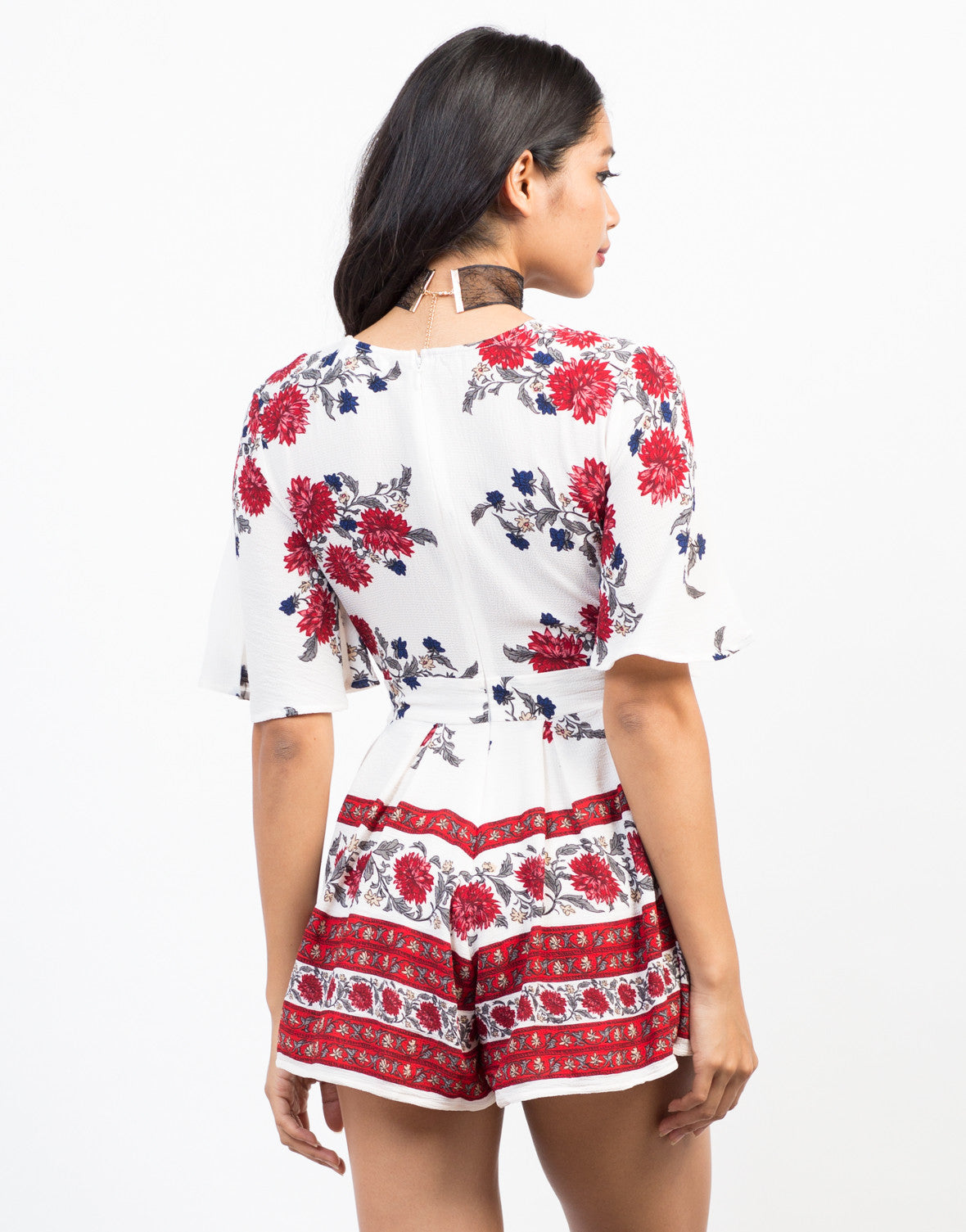 Back View of Red Floral Romper