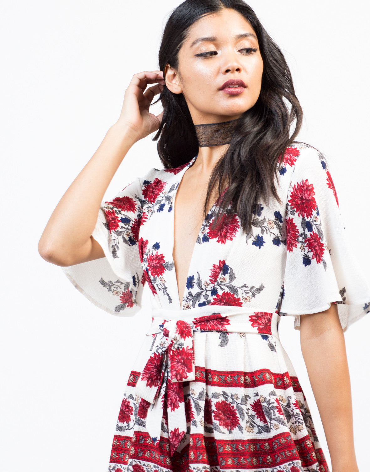 Detail of Red Floral Romper