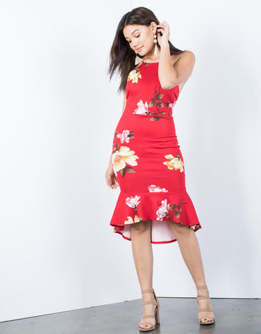 Red Romance Floral Dress