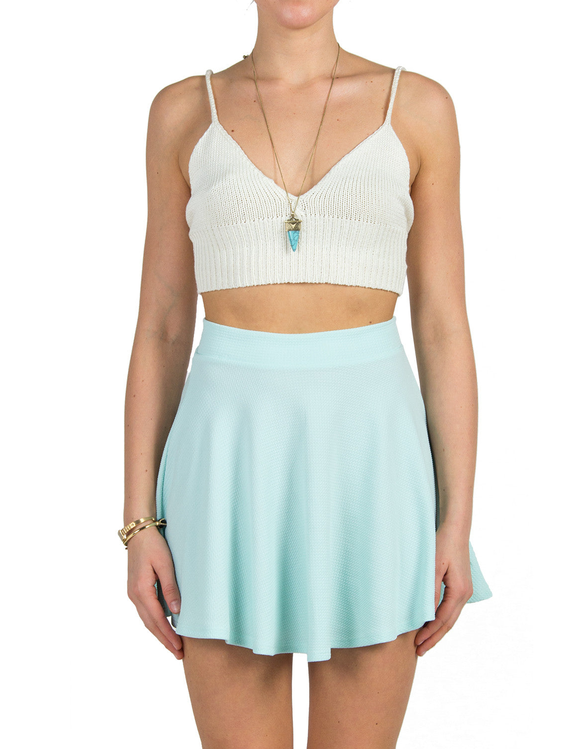 Rehab Clothing -Cropped Knit Cami - Ivory - 2020AVE