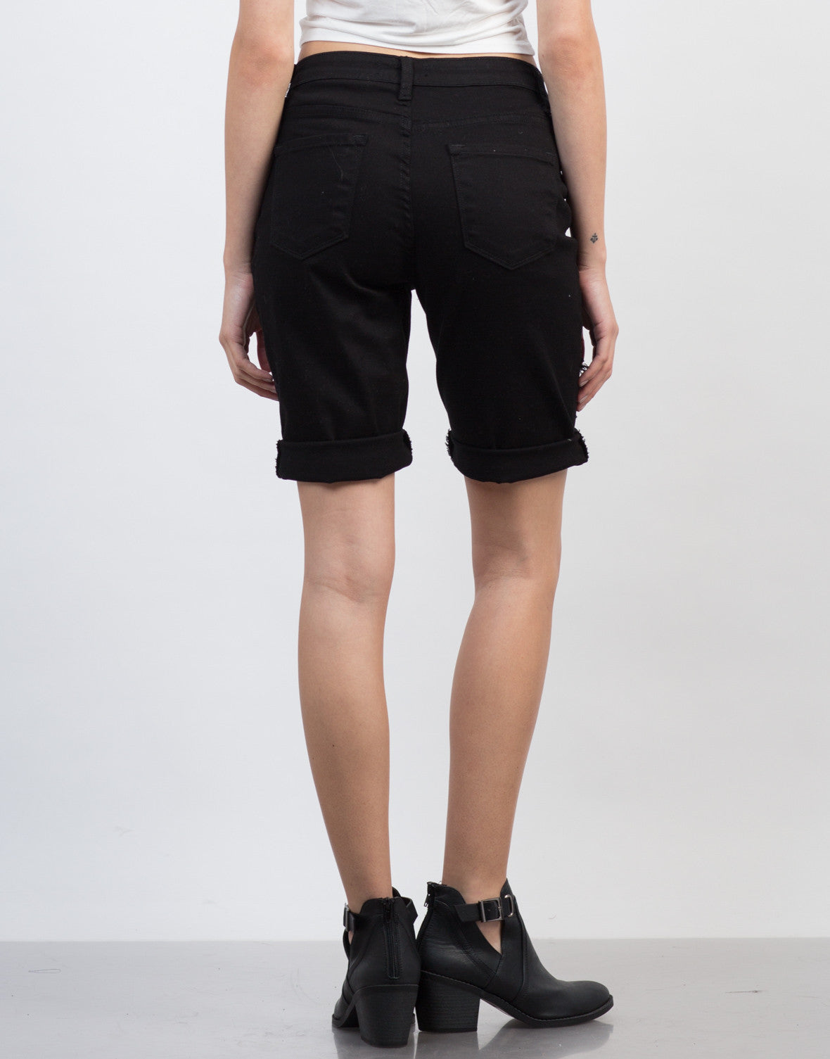 Back View of Relaxed Bermuda Shorts