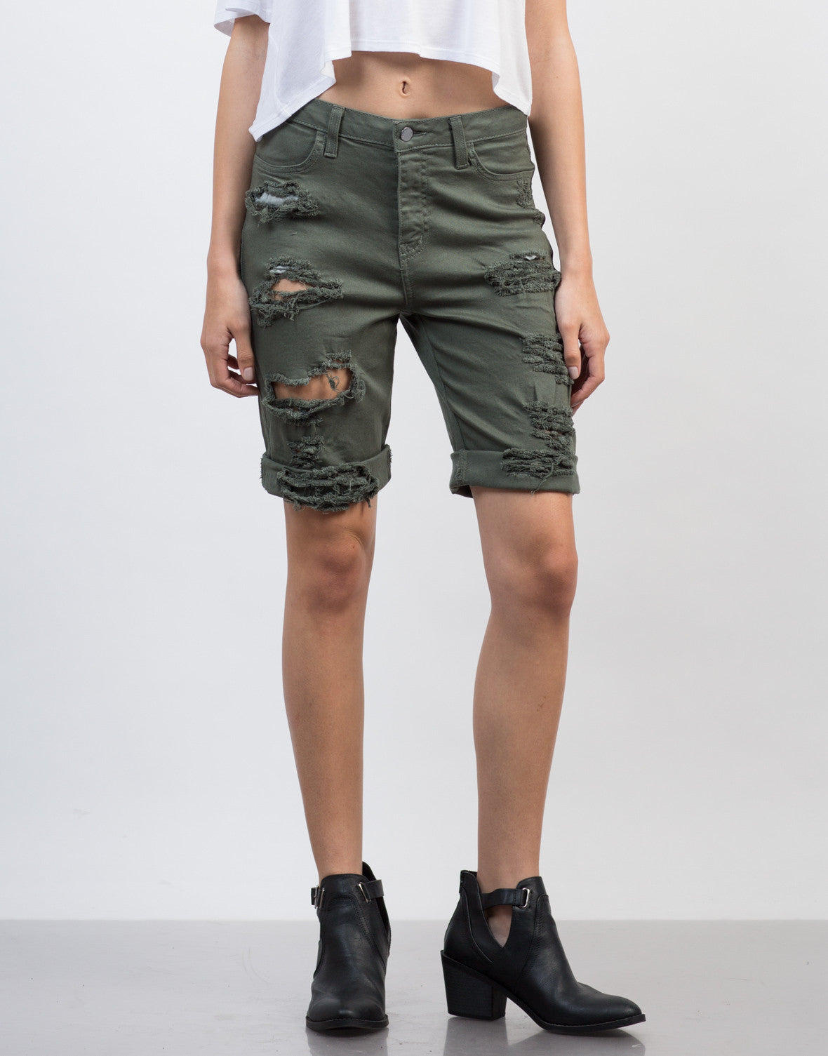 Front View of Relaxed Bermuda Shorts