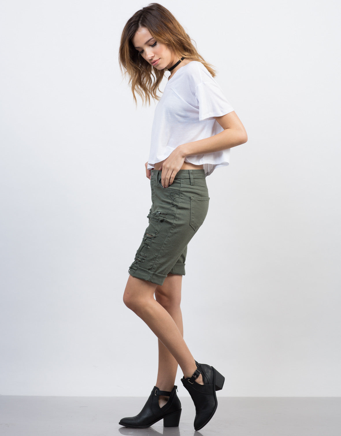 Side View of Relaxed Bermuda Shorts