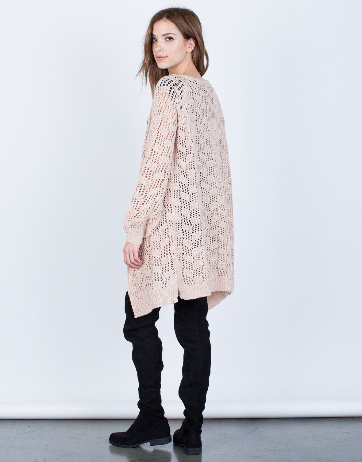 Back View of Relaxed Knit Cardigan