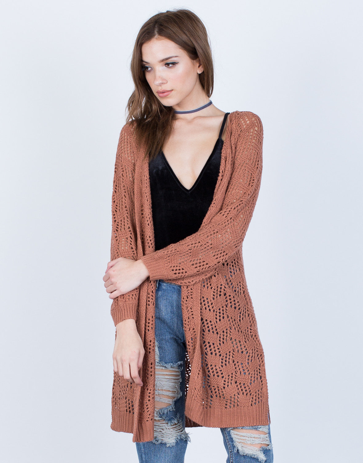 Relaxed Knit Cardigan - Lightweight Knitted Cardigan - Flowy ...