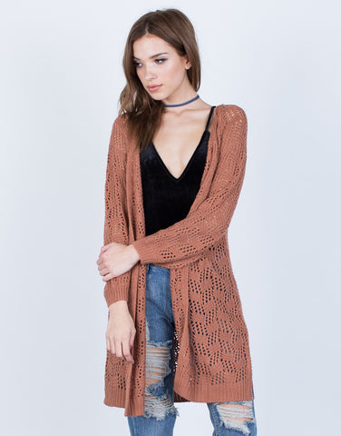 Front View of Relaxed Knit Cardigan