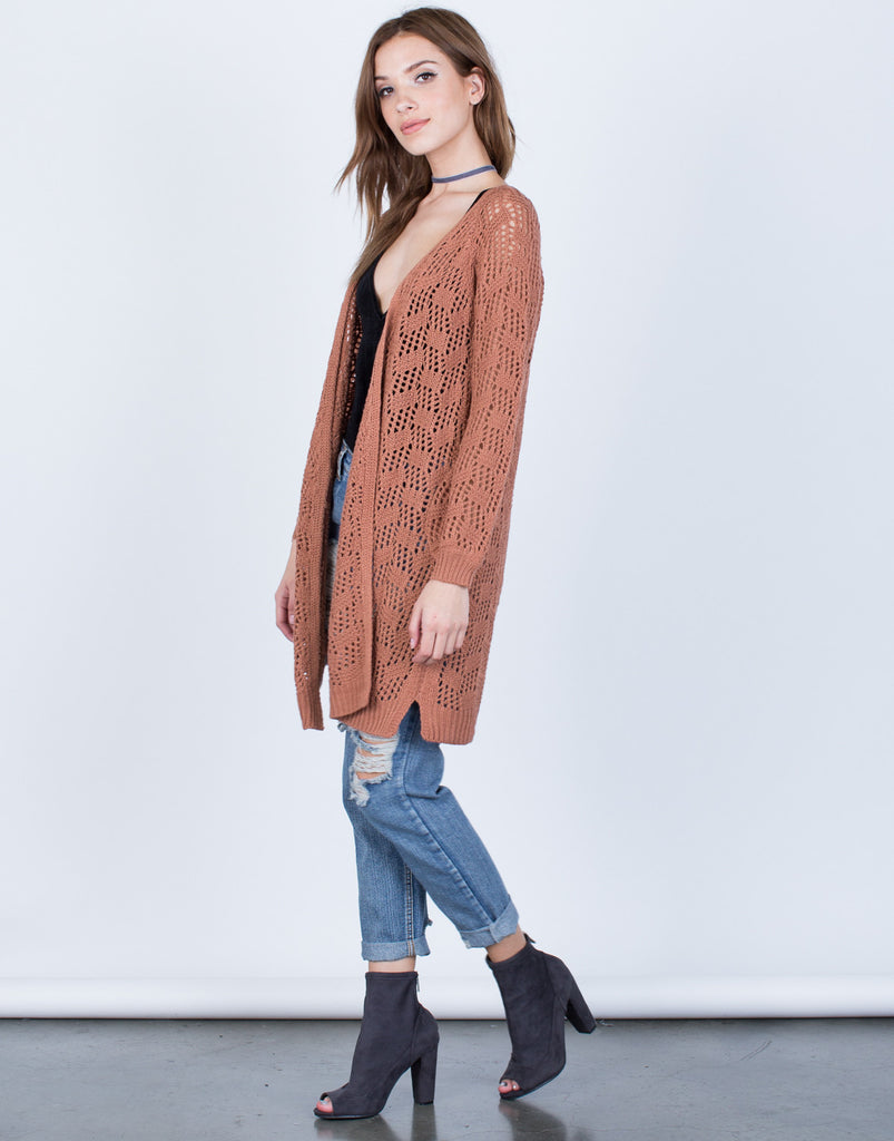 Side View of Relaxed Knit Cardigan