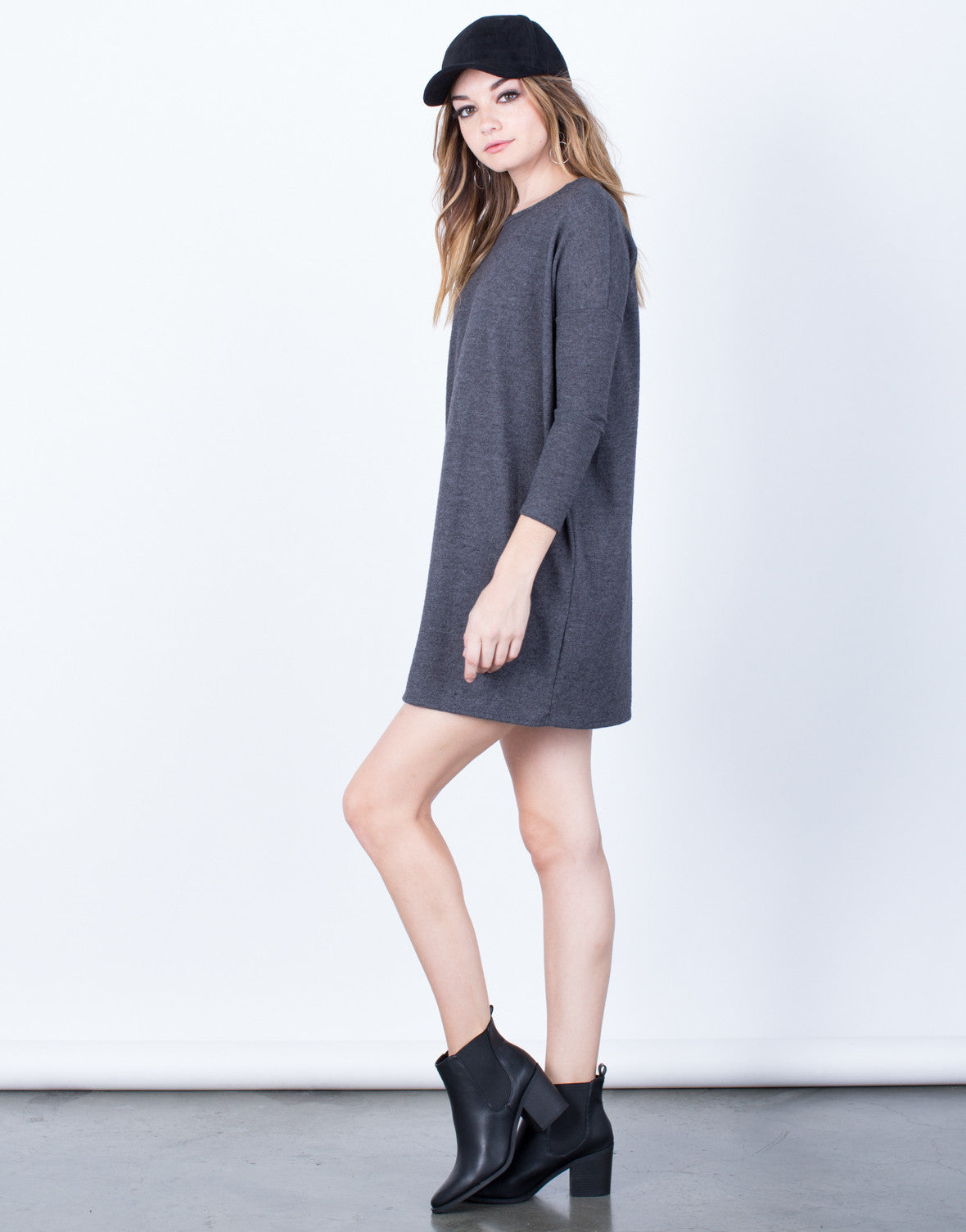 Side View of Relaxed Knit Dress