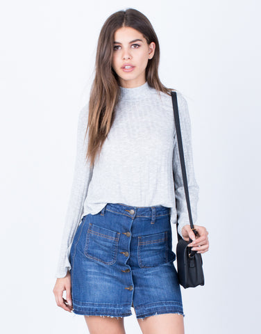 Front View of Relaxed Sweater Top
