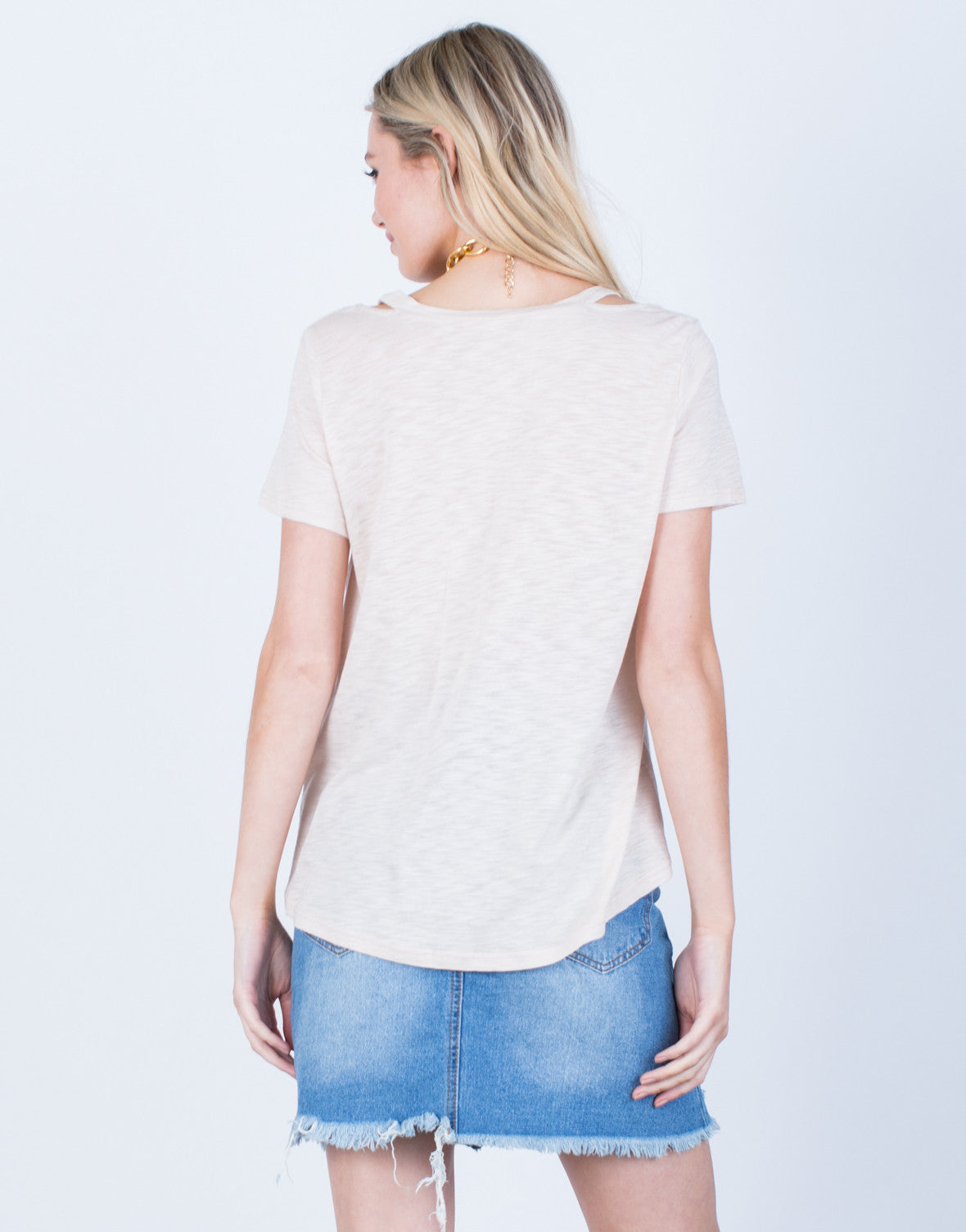 Back View of Relaxed V-Neck Tee