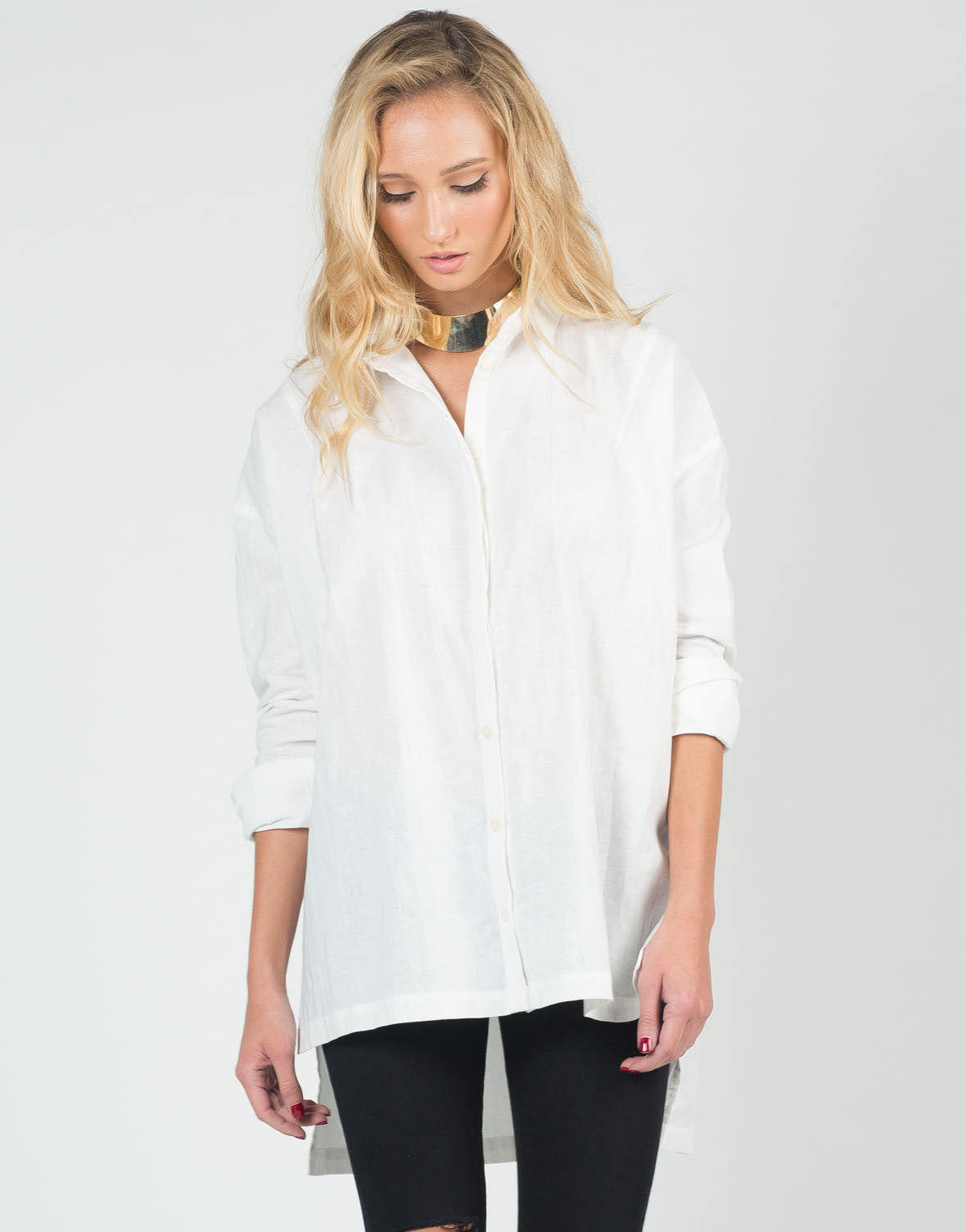 Front View of Relaxed Boyfriend Button Up Shirt