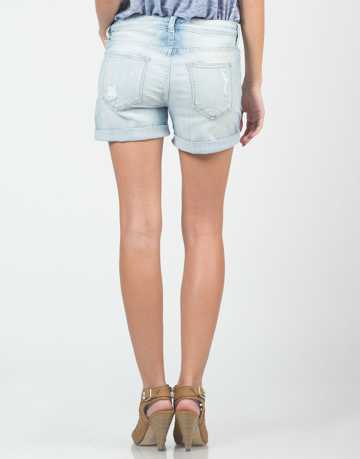 Back View of Relaxed Boyfriend Denim Shorts
